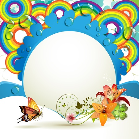 Background with lilies, butterfly and drops of water over rainbow  Vector