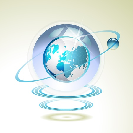leadership development: Glass globe with Earth suspended by waves Illustration