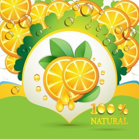 orange cut: Rodajas de naranja con hojas y cae  Vectores