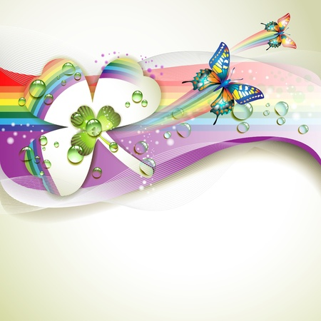 Background with clover and drops of water over rainbow  Vector