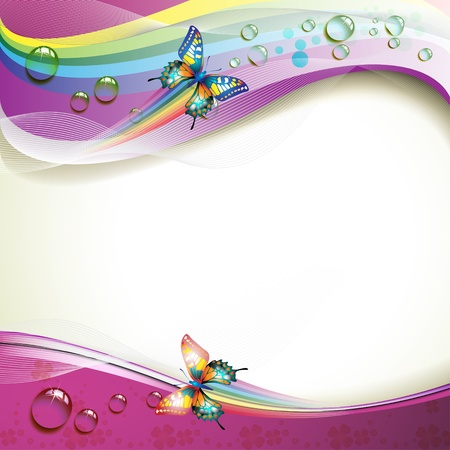 rainbow circle: Background with butterflies and drops of water over rainbow