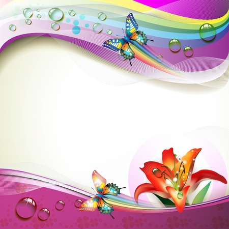 butterfly flower: Background with lily, butterflies and drops of water over rainbow
