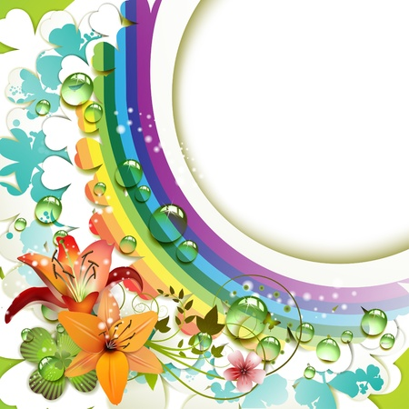 Background with lilies, clover and drops of water over rainbow  Vector