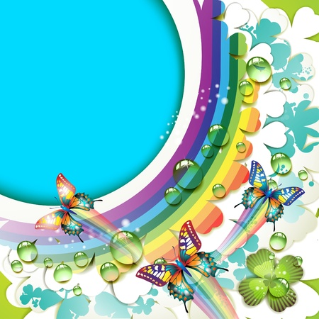 clover banners: Background with clover and drops of water over rainbow
