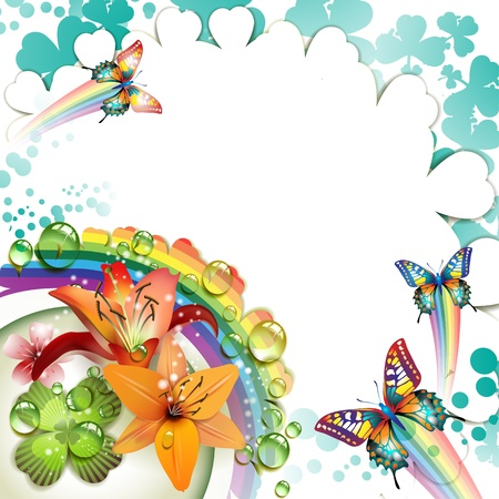 magic lily: Background with lilies, butterflies and drops of water over rainbow