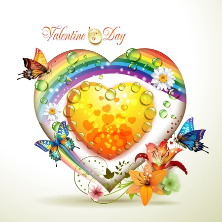 green heart: Valentines day card. Heart with lily and butterflies