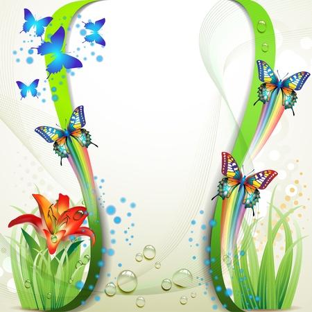 Farbigen Hintergrund mit Schmetterling und Blumen