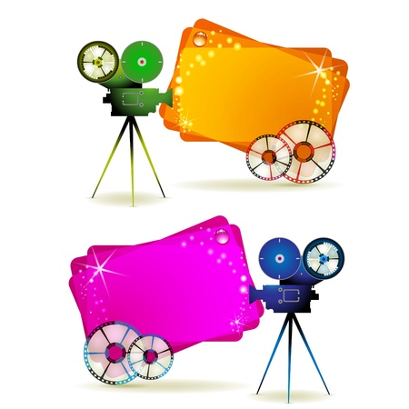 cinema strip: Film frames with camera and colored backgrounds  Illustration