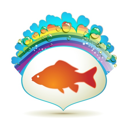 Label with fish isolated on white background Vector