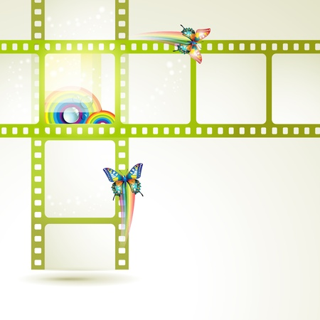 Film frames with butterflies and colored circles Vector