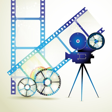 cinematography: Film frames with colored circles Illustration