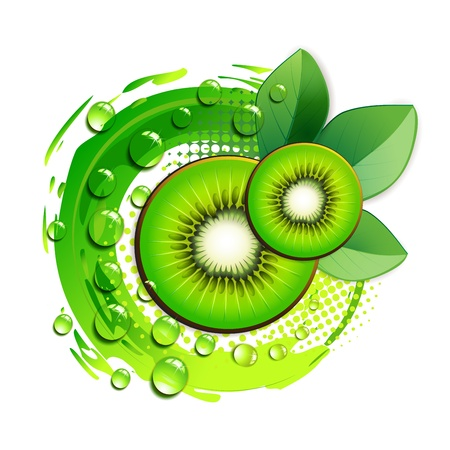 antioxidant: Kiwi slices with abstract background over white background
