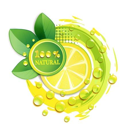 Scheiben gelb Zitrone mit Tropfen und Blatt Vektorgrafik