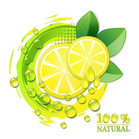 lemon slices: Fette giallo limone con gocce e foglia