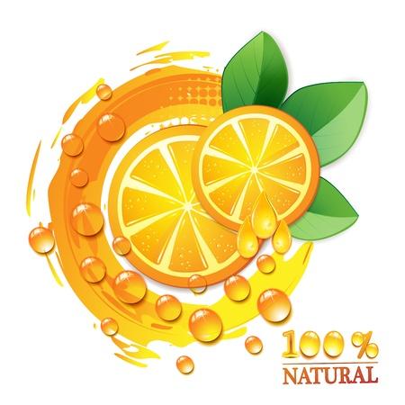 orange cut: Rodajas de naranja con hojas aisladas sobre fondo blanco Vectores