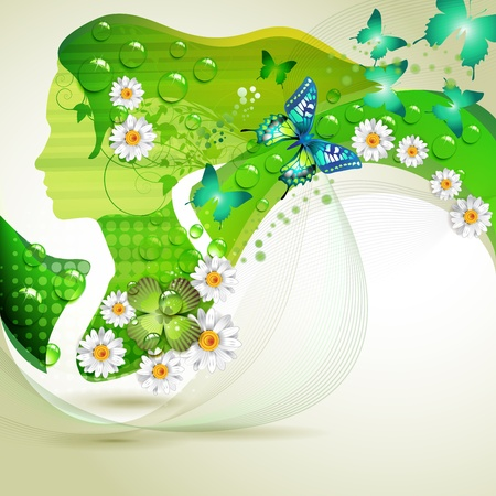 Stylized green portrait with butterflies and flowers  Stock Vector - 9932621