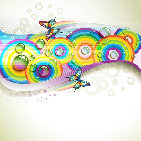 Background with butterflies and drops of water over rainbow  Vector