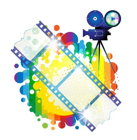 Fotogramas de la película con cámara sobre fondo multicolor  Ilustración de vector