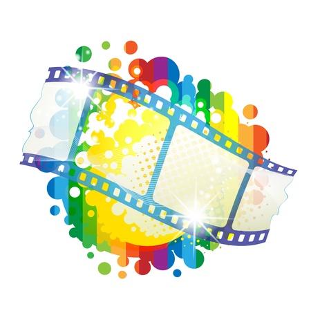 cinema screen: Film frames over colorful background