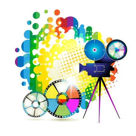 Film frames with camera over colorful background Stock Vector - 9932484