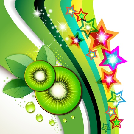 Kiwi slices with leaf over colored background