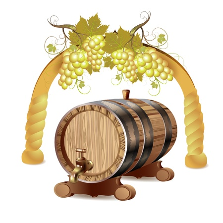 Wine barrel with white grapes Stock Vector - 10102332