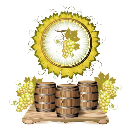 brown cork: Wine barrel with white grapes Illustration