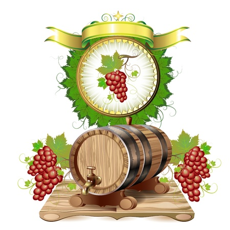 Wine barrel with purple grapes Stock Vector - 10102348