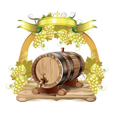 Barril de vinho com uvas brancas