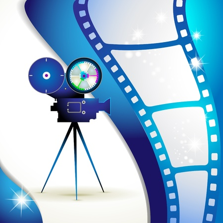 movie screen: Film frames with camera Illustration