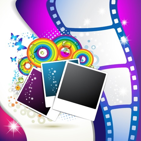 Photos collection with colored circles and butterflies over blue background Vector