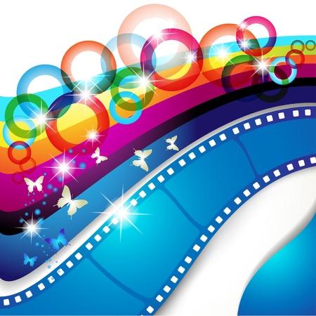 rollo pelicula: Fotogramas de la película sobre fondo multicolor