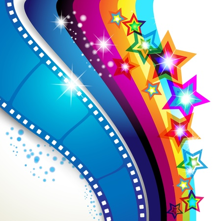 cinematography: Film frames over colorful background