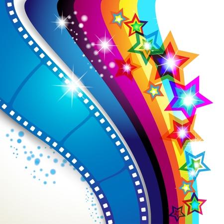 Fotogramas de la película sobre fondo multicolor Ilustración de vector