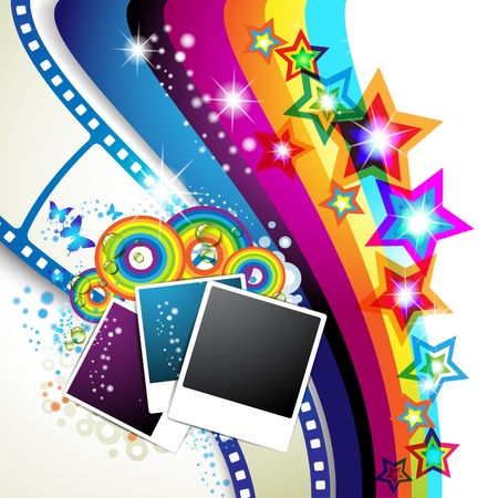 film star: Photos collection with colored stars and butterflies over colored background