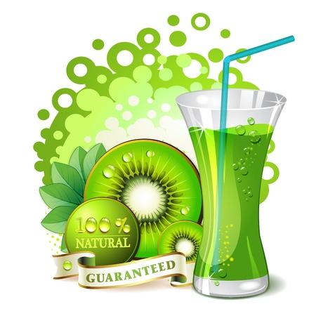 Glass of kiwi juice with kiwi slices Vector