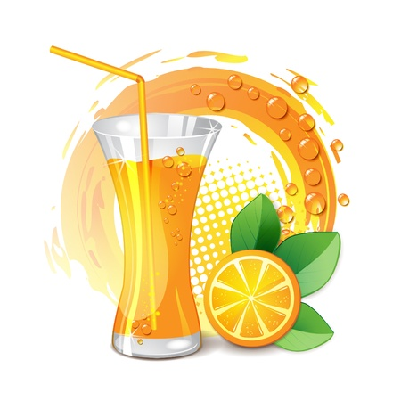 orange juice glass: Glass of orange juice with slices orange