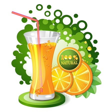 Glass of orange juice with slices orange  Stock Vector - 10102339