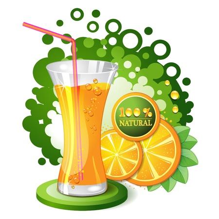 Glass of orange juice with slices orange  Stock Vector - 10102339