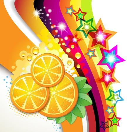 fruits juice: Slices orange with leaf over colored background  Illustration