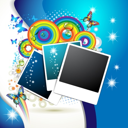 photo frame corner: Photos collection with colored circles and butterflies over blue background Illustration