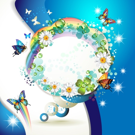 Abstract background with butterflies, flowers, rainbow and drops of water  Vector