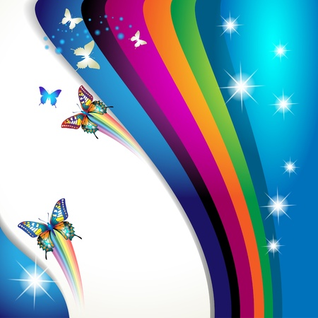 spring festival: Colorful background with butterfly Illustration