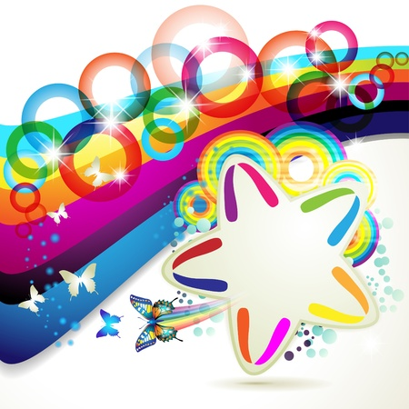 Colorful background with stars and circles rainbow  Vector