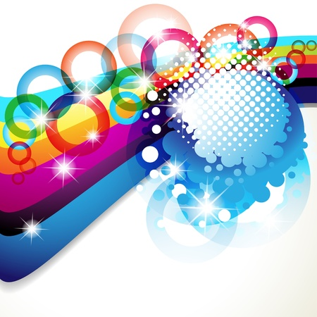Colorful background with stars and circles rainbow Stock Vector - 10102314