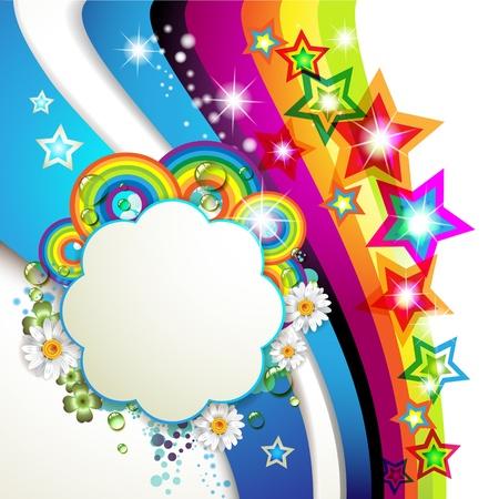 fr�hlingsfest: Bunte Hintergrund mit Sternen und Tropfen