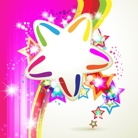 Colorful background with stars and circles rainbow Stock Vector - 10102347