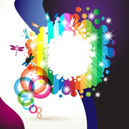 Bunter Hintergrund mit farbigen Kreisen und Libelle