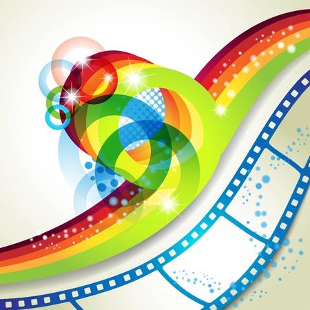 photo slide: Film frames over colorful background