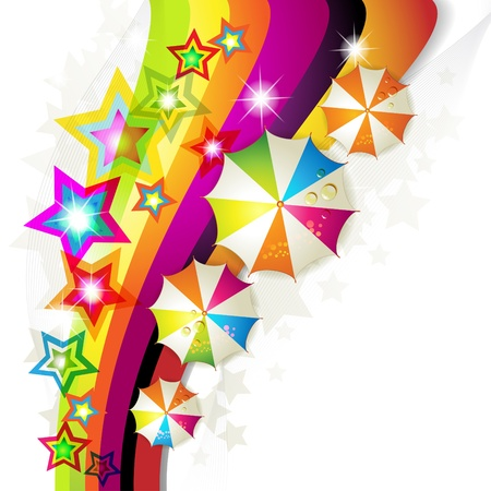 Colored background with colored stars and umbrellas Vector Illustration